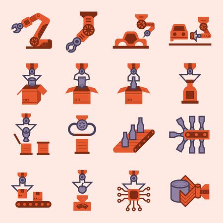 working belt: Robot and conveyor belt icons sets.