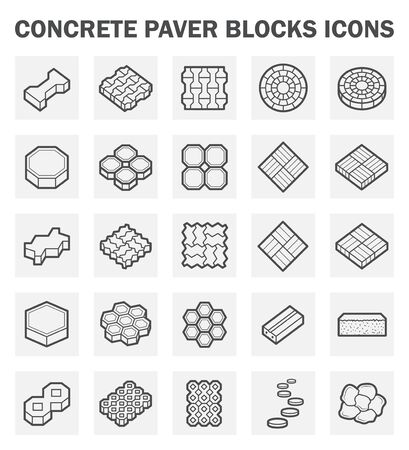walkway: Concrete paver block icons sets.