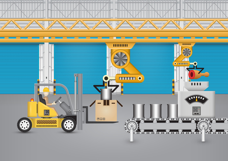 factory machine: Robot working with conveyor belt and forklift inside factory. Stock Photo