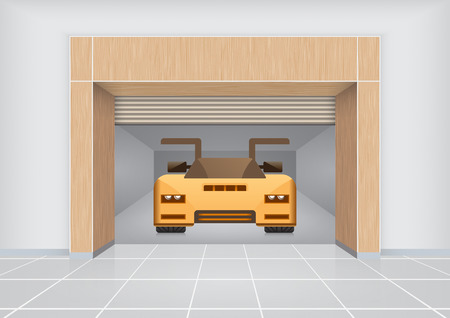 shop floor: Sports car inside room.