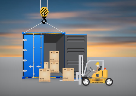 wood crate: Forklift working with wood crate and cargo container with sky background.