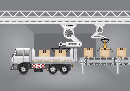fliesband: Robot die Arbeit mit F�rderband und LKW mit dunklen Hintergrund.