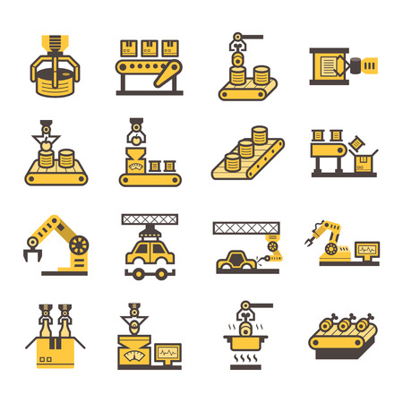 machine operator: Robot and conveyor belt icons sets.