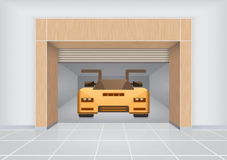 innen: Sportwageninnenraum. Illustration
