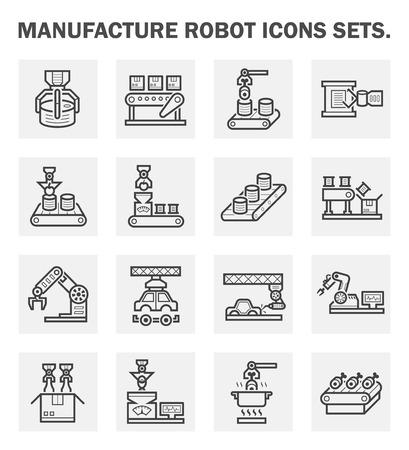 Fertigen Roboter icons Sets. Standard-Bild - 43637072