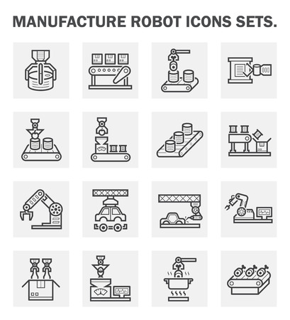 can food: Manufacture robot icons sets.