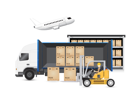 white people: Forklift transfer carton into truck isolated on white background.