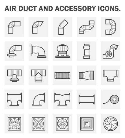 Air duct and accessory icon sets.