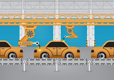 production line: Robots working with auto parts in factory. Illustration