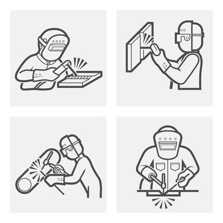 soldadura: Ilustración de Soldadura iconos conjuntos. Vectores