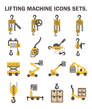 Lifting machine iconen sets.