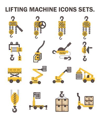 Máquina de elevación iconos conjuntos.
