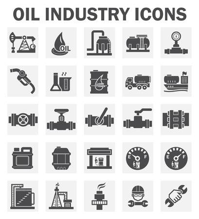 tanque: La industria petrolera iconos conjuntos.