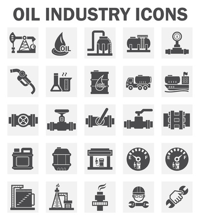 oil refinery: Oil industry icons sets.
