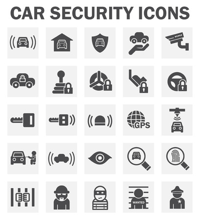 wheel guard: Car security icons.