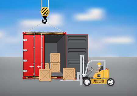 wood working: Forklift working with wood crate and cargo container with sky background.