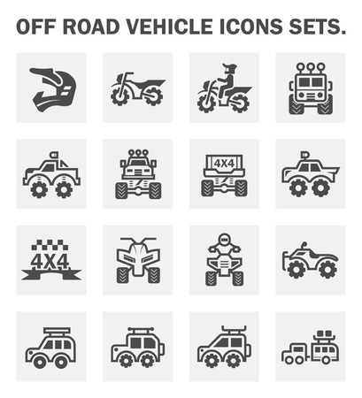 Off road vehicle icons sets. Illustration