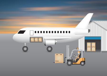 goods station: Forklift transfer carton into plane with sky background.