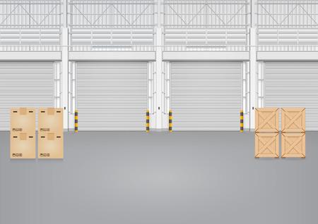 shutter door: Illustration of shutter door inside factory, gray color.