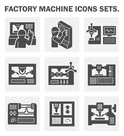 machine operator: Factory machine icons sets.