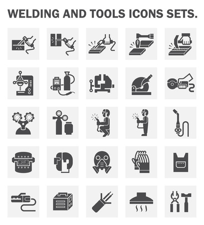 industrial worker: Welding and tools icons sets. Illustration