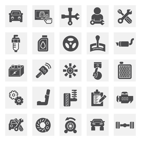 remote: Car and accessories icons. Illustration