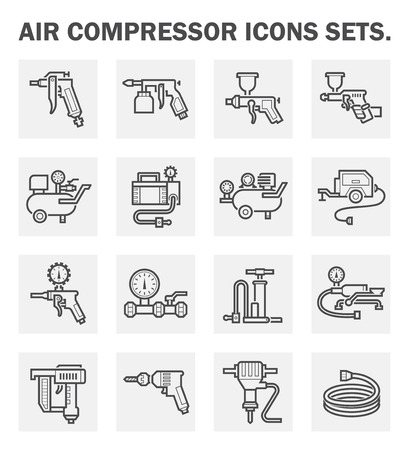 drill: Air compressor icons sets. Illustration