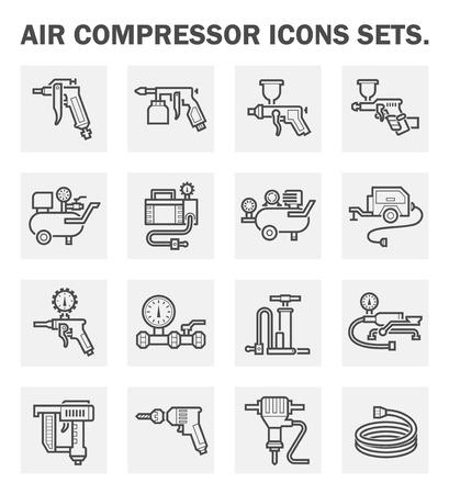 Luftkompressor Ikonen-Sets. Vektorgrafik
