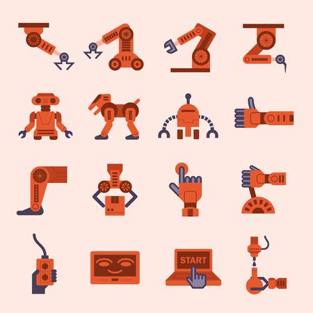 lever arm: Robot icon sets.