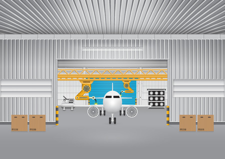 aircraft: Robot working with plane in factory.