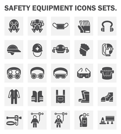 construction equipment: Safety equipment icons sets.