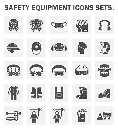 Veiligheidsuitrusting iconen sets.