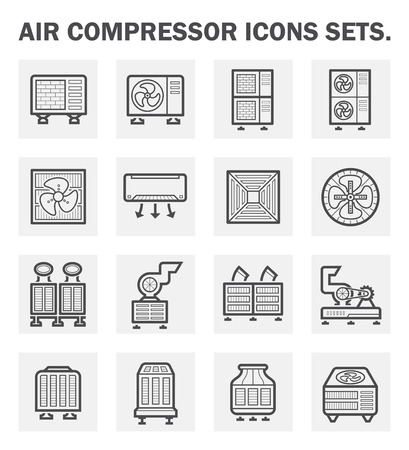 Air compressor icons sets. Vettoriali