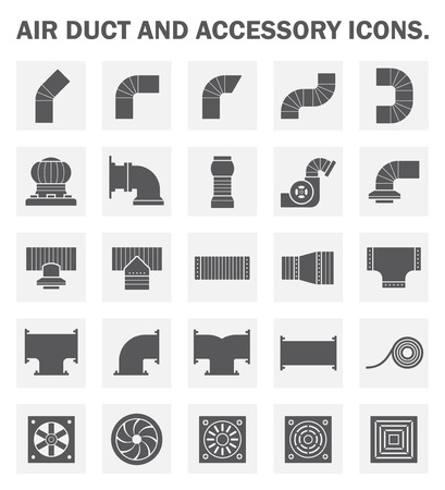 air flow: Air duct and accessory icon sets.