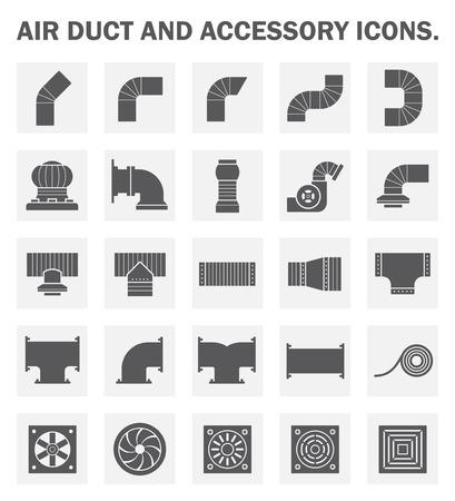 flujo: Conducto de aire y conjuntos de iconos de accesorios.