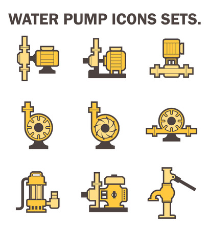 submerged: Water pump icons sets.