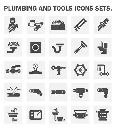 pipe wrench: Plumbing and tools icons sets.