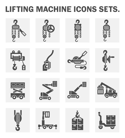 Lifting machine icons sets.