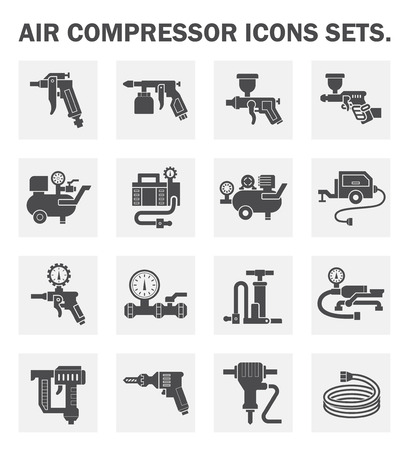 Air compressor icons sets. Ilustracja