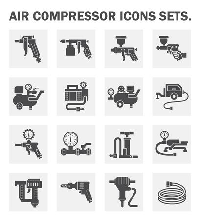 pneumatic: Air compressor icons sets. Illustration