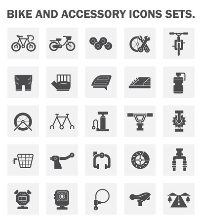 bike parts: Bike and accessory icons sets.