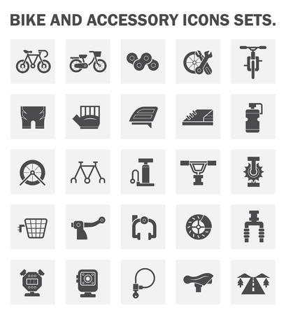 accessoire: V�lo et accessoires ic�nes ensembles. Illustration