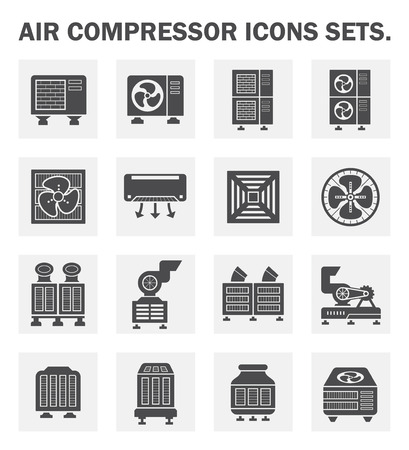 refrigeration: Air compressor icons sets. Illustration