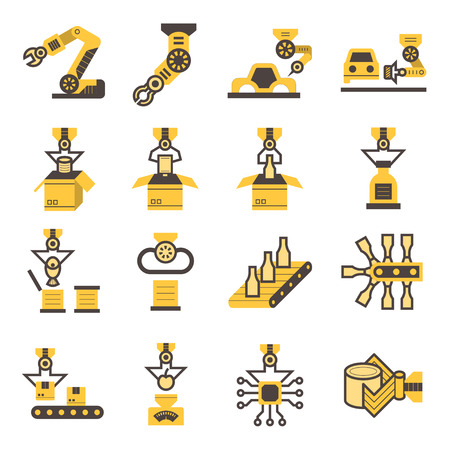 robots: Robot and conveyor belt icons sets.