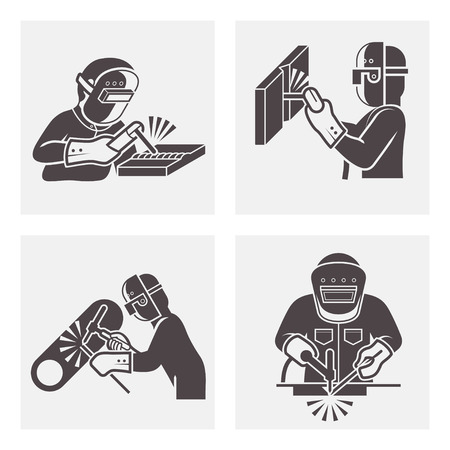 gas pipe: Illustration of Welding icons sets.