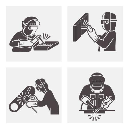 soldador: Ilustración de Soldadura iconos conjuntos. Vectores