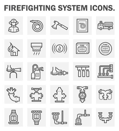 camion de bomberos: Sistema de extinción de incendios iconos conjuntos.