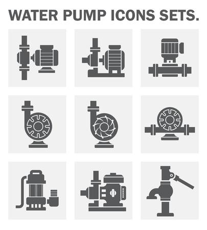 infraestructura: Bomba de agua iconos conjuntos.