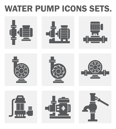 electric motor: Water pump icons sets.