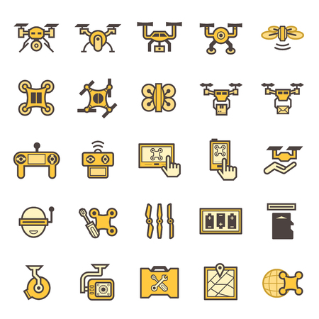 Toy aircraft icons sets. Illustration